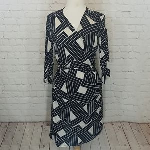 Black and tan wrap dress